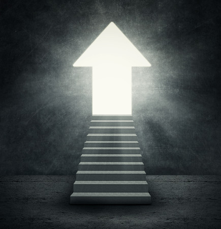ascend: Arrow shaped door with bright light symbolizing improvement or success