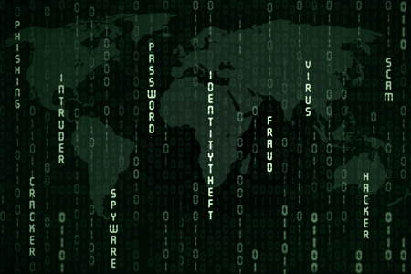 spyware: Global spyware concept with green binary code on black background