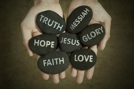人間の手の石イエス ・ キリストについてのキーワードを保持しています。