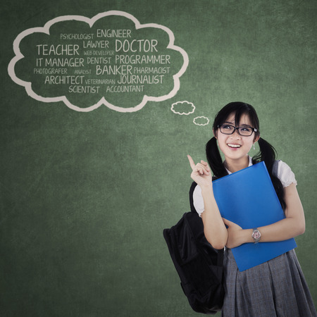 ideals: Smart student thinking about her ideals. shoot at the class