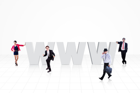World wide web logo (www) with business people surround it, isolated on white Stock Photo - 27035458