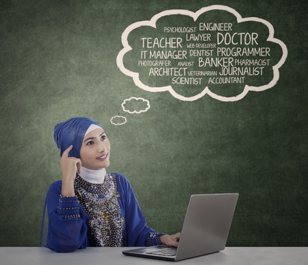 Muslim student is thinking about her dream at the class photo