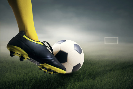 kick: Foot kicking soccer ball leads to the gate at field Stock Photo