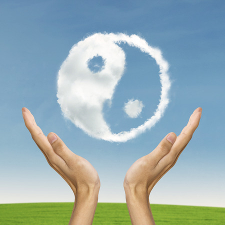 chinese philosophy: Life balance conccept with Ying yang symbol