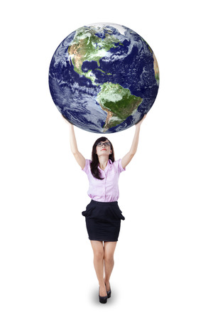 lifting globe: Businesswoman is holding world globe on white background. Earth image courtesy NASA