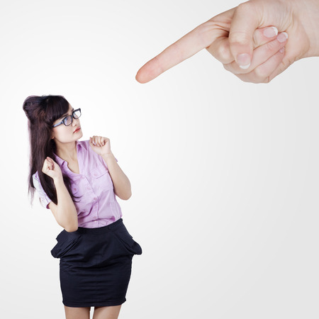 scolded: Worried businesswoman scolded by someone