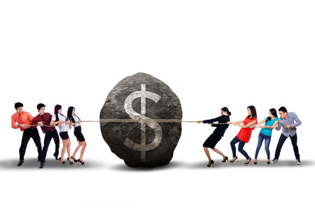 pulling money: Portrait of business people pulling the big boulder on white background