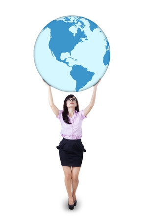 lifting globe: Businesswoman is holding world globe on white background.  Stock Photo