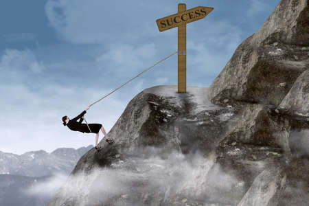 steep cliffs sign: Businesswoman climbing the mountain with success sign on top