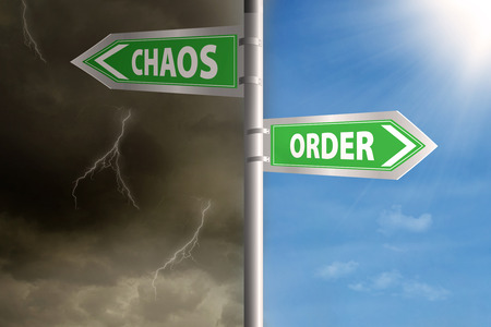 order chaos: Roadsign to chaos and order with cloudy sky and clear sky