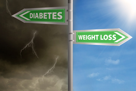guidepost: Guidepost to choose weight loss or diabetes. shoot outdoors Stock Photo