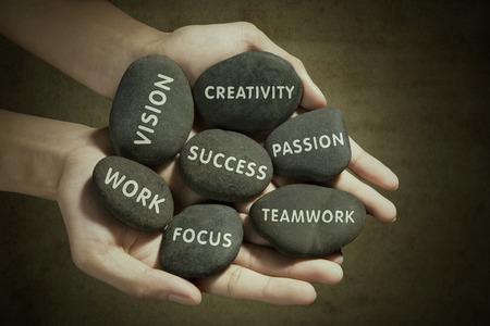 Las partes del éxito escritas en la roca Foto de archivo