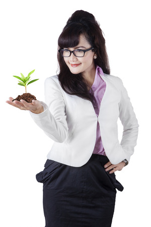 Asian businesswoman holding plant on her palm. isolated on white background photo