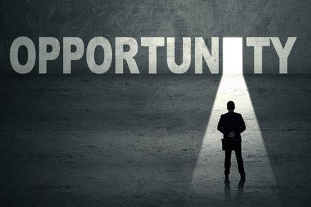 financial freedom: Businessman walks toward an opportunity door