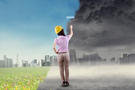 녹색 도시를 그림으로 환경을 저장하려고 엔지니어