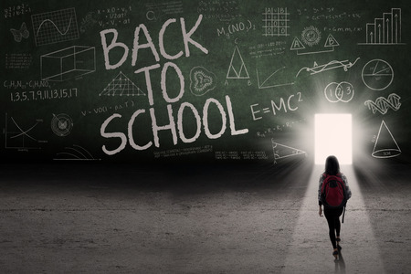 lead sled: Back to school: Text of back to school on the blackboard with a door on the board