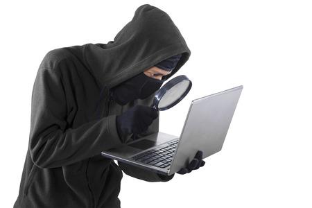 Portrait of hacker isolated on white background photo