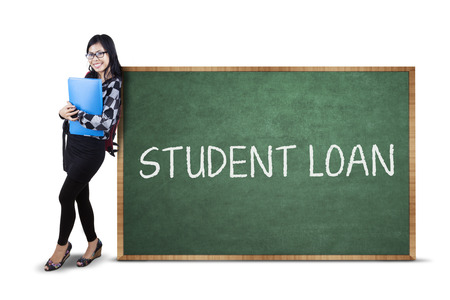 education loan: Female student standing next to student loan text. isolated on white