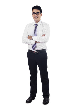 Confident modern business man isolated on white