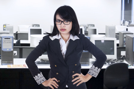 bossy: Portrait of bossy businesswoman, shot in office Stock Photo