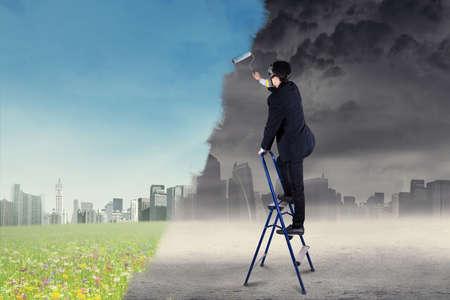 solucion de problemas: Dibujo de una ciudad verde de una ciudad con la contaminación del aire Empresario