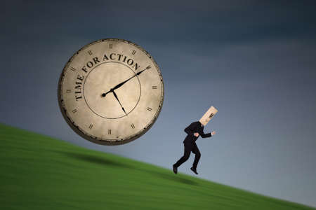 chased: Anonymous businessman running chased by a big clock