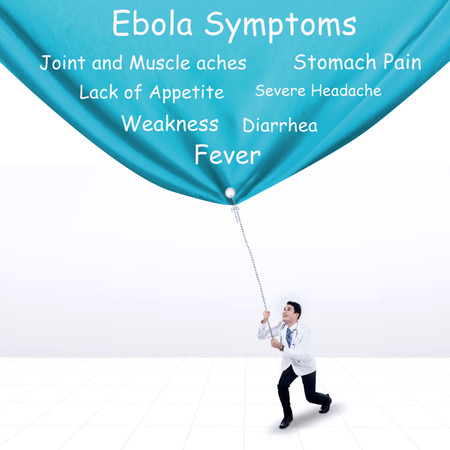 Doctor pulling Ebola symptoms banner, isolated on white background photo