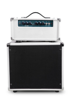 Electric guitar amplifier, isolated on white background