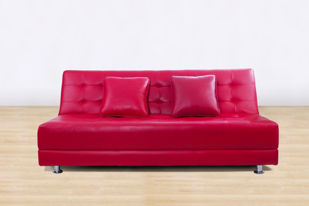 Leather sofa in living room with two pillow photo