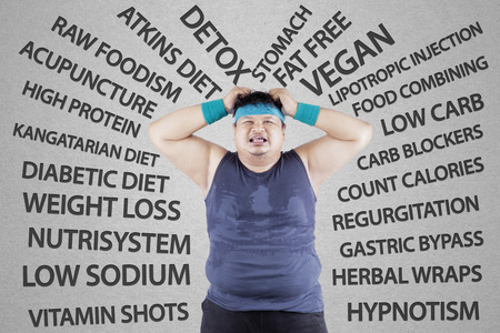 low carb diet: Stressful man having weight problem, expressing stress Stock Photo