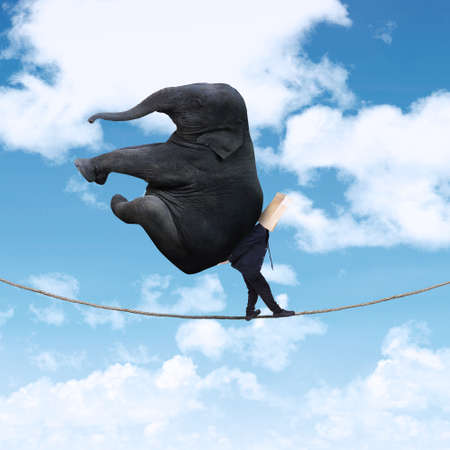 Portrait of anonymous businessman carrying heavy elephant on the rope photo