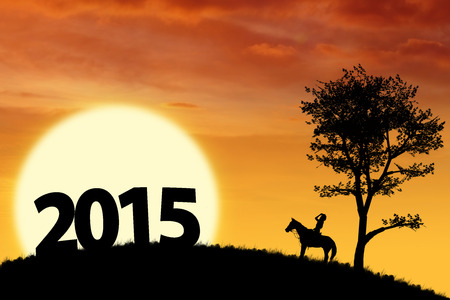 Silhouette of number 2015 and a woman riding horse on the hill photo