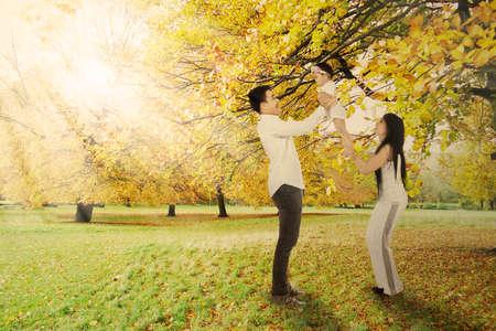 familias jovenes: Alegre padre y la madre con su bebé jugando juntos bajo el árbol de otoño Foto de archivo