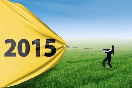 Female business manager is pulling big number of 2015 on the meadow photo