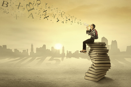announcing: Female student sitting on books and announcing her vision in 2015 using a megaphone Stock Photo
