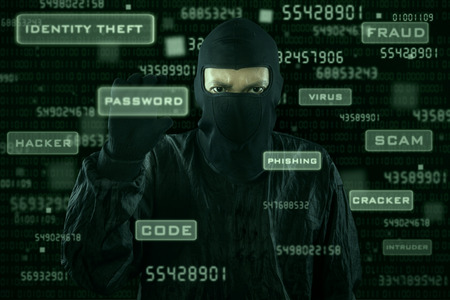 web scam: Hacker taking password from modern interface with dark background