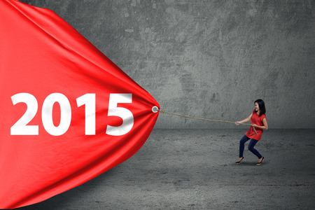 Casual woman try to drag number 2015 on a big banner photo