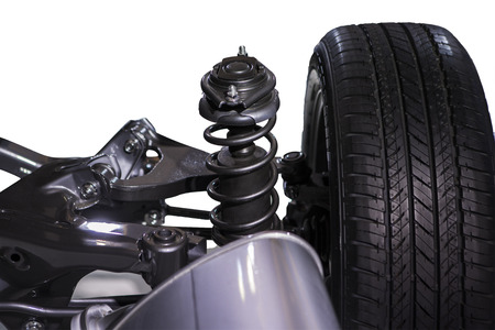 absorber: Wheel and shock absorber, isolated over white background