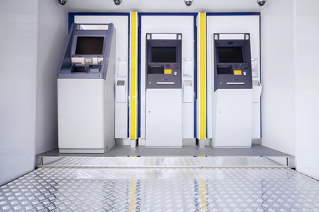 automatic teller machine bank: New three atm machine in public place