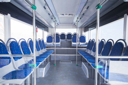 Bus interior with seats for passengers in public transportation