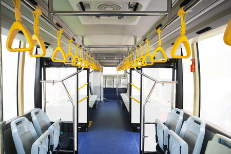 straps: Handrail and seats of new bus for public transportation