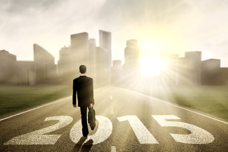 Rear view of businessman carrying briefcase and walking on the road towards future 2015 photo