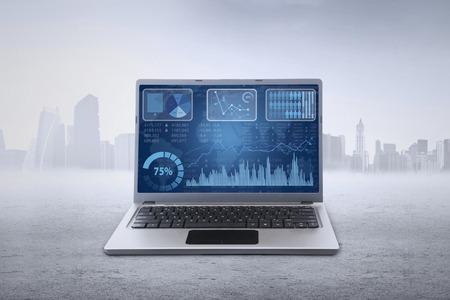 screen shot: Closeup of business chart on the laptop screen, shot outdoors Stock Photo