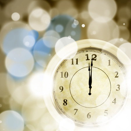 New year clock on abstract  photo