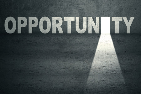 opportunity: Opened opportunity door with bright light