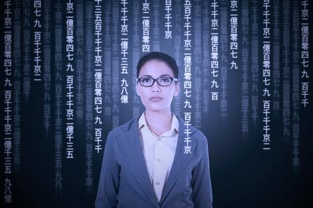 Young asian woman translating japanese language to get information