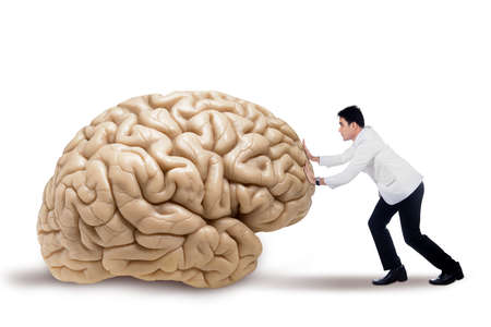 preventing: Portrait of male doctor pushing a brain, isolated on white background Stock Photo