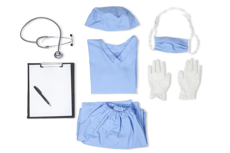 white clothing: Equipments of surgeon with uniform, stethoscope, clipboard, gloves, mask, and hat