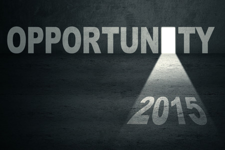Opportunity door with number 2015 and bright light toward the future photo