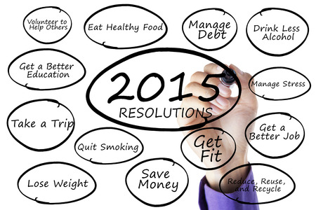 Hand using a marker to write resolutions list of 2015 on whiteboard, isolated on white background photo